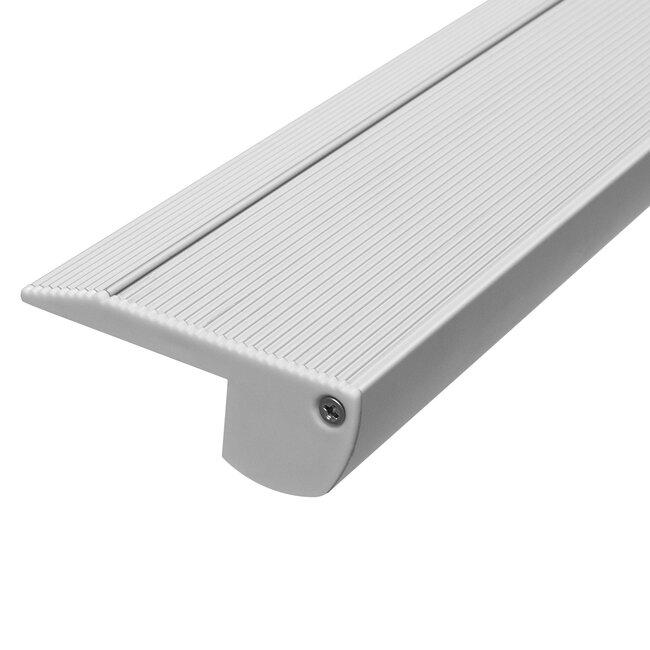 GloboStar® 70823-1M Προφίλ Αλουμινίου για Σκαλοπάτια Ανοδιωμένο με Λευκό Οπάλ Κάλυμμα για 1 Σειρά Ταινίας LED Πατητό - Press On - 5