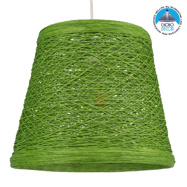 PLAYROOM 00864 Vintage Κρεμαστό Φωτιστικό Οροφής Μονόφωτο Πράσινο Ξύλινο Ψάθινο Rattan Φ32 x Υ27cm - 1