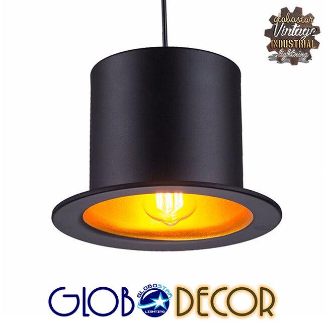 Vintage Κρεμαστό Φωτιστικό Οροφής Μονόφωτο Μαύρο Μεταλλικό Καμπάνα Φ26 GloboStar SHERLOCK 01215 - 10