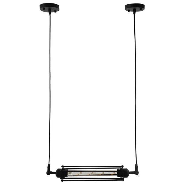 Vintage Industrial Κρεμαστό Φωτιστικό Οροφής Μαύρο Μεταλλικό με Γυαλί  TUBE 01085 - 2