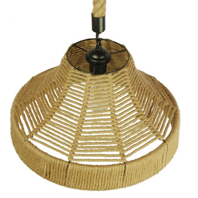Vintage Κρεμαστό Φωτιστικό Οροφής Μονόφωτο Καμπάνα με Μπεζ Σχοινί Φ41 GloboStar DOGMA 01609 - 5