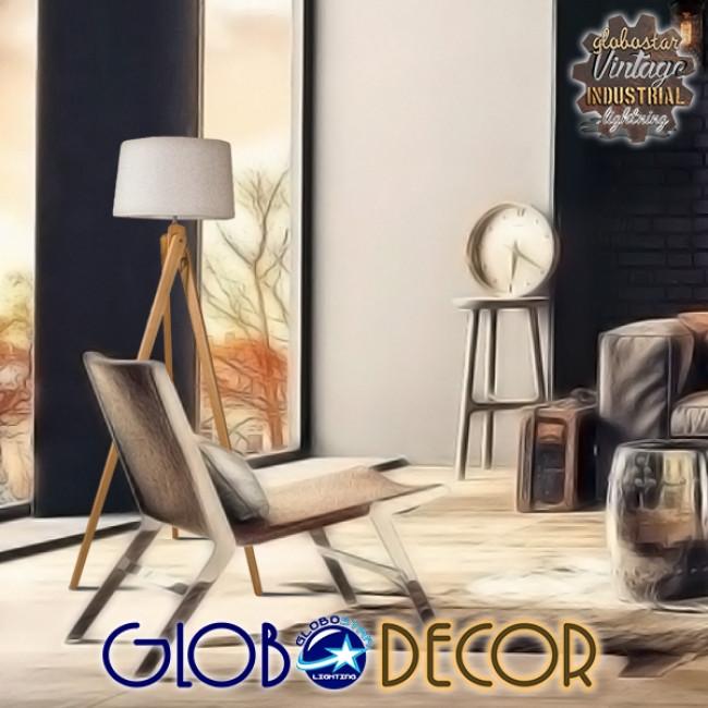Μοντέρνο Φωτιστικό Δαπέδου Μονόφωτο Ξύλινο με Μπεζ Καπέλο Φ40 GloboStar TRIPOD 01263 - 6