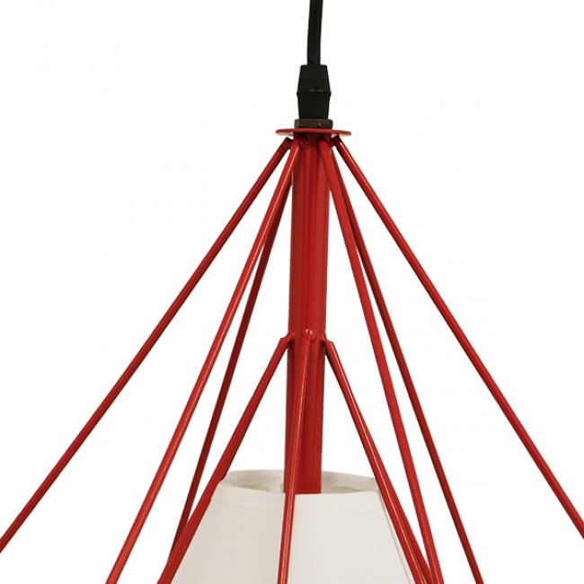 Μοντέρνο Industrial Κρεμαστό Φωτιστικό Οροφής Μονόφωτο Κόκκινο με Άσπρο Ύφασμα Μεταλλικό Πλέγμα Φ38 GloboStar KAIRI RED 01620 - 6