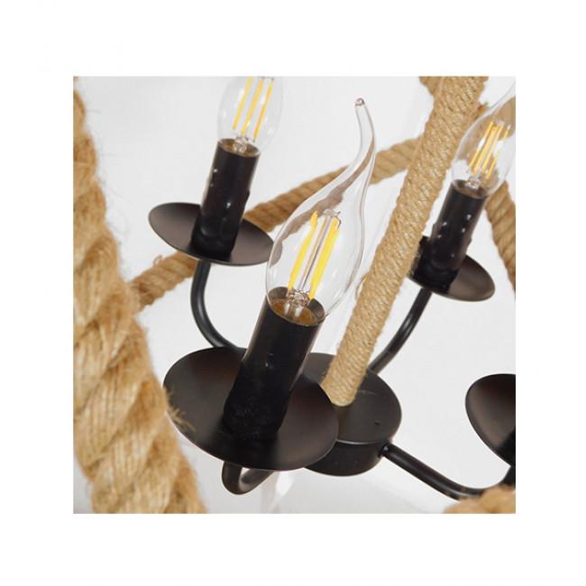 Vintage Κρεμαστό Φωτιστικό Οροφής Πολύφωτο Μαύρο Μεταλλικό Πολυέλαιος με Μπεζ Σχοινί Φ53 GloboStar VITRUVIAN 01141 - 5
