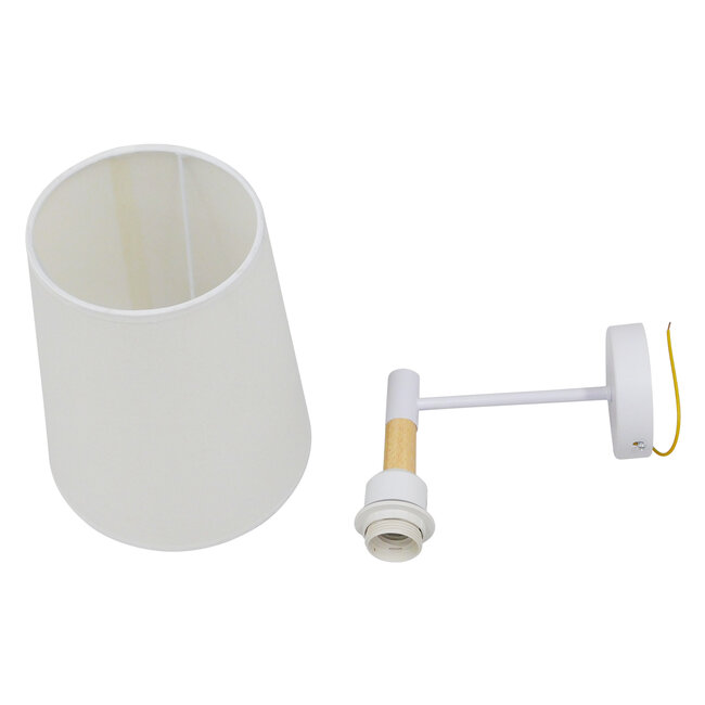 Μοντέρνο Φωτιστικό Τοίχου Απλίκα Μονόφωτο Λευκό με Μπέζ Ξύλο Μεταλλικό Φ20  LYDFORD WHITE 01433 - 16