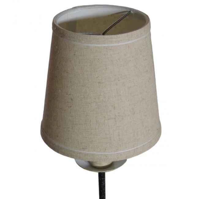 Vintage Φωτιστικό Τοίχου Απλίκα Μονόφωτο Μαύρο Μεταλλικό με Υφασμάτινο Μπεζ Καπέλο Φ16 GloboStar DOVE 01084 - 6