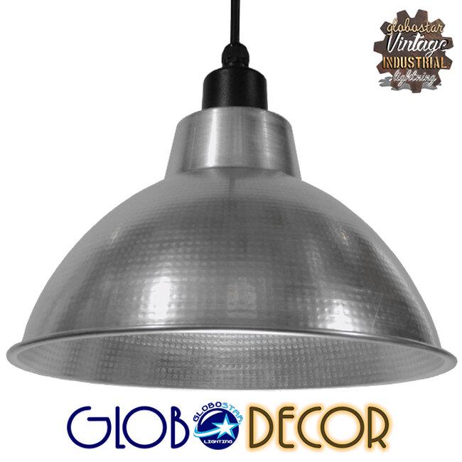 Vintage Industrial Κρεμαστό Φωτιστικό Οροφής Μονόφωτο Ασημί Μεταλλικό Καμπάνα Φ39  LOUVE SILVER 01178 - 1