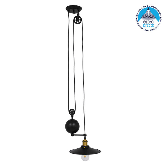 Vintage Industrial Κρεμαστό Φωτιστικό Οροφής Μονόφωτο Μαύρο Μεταλλικό με Ρυθμιζόμενη Ανάρτηση  SCALES 01549 - 1