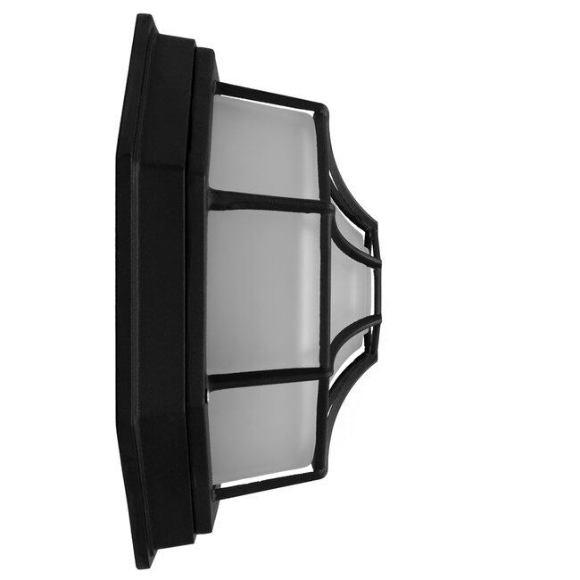 GloboStar® RUBY 00912 Vintage Μεταλλικό Φωτιστικό Πλαφονιέρα Οροφής - Απλίκα Τοίχου από Αλουμίνιο με Ντουί E27 Μονόφωτο Μαύρο με Γαλακτερό Γυαλί Μ27 x Π27 x Υ12cm - 6