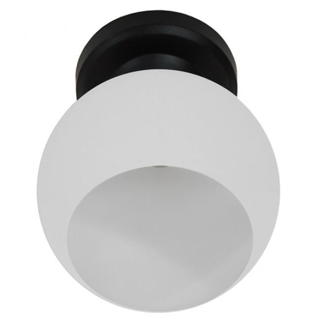 Μοντέρνο Φωτιστικό Οροφής Μονόφωτο Μαύρο με Λευκό Ματ Γυαλί Καμπάνα Φ13 GloboStar MAURA 01318 - 4