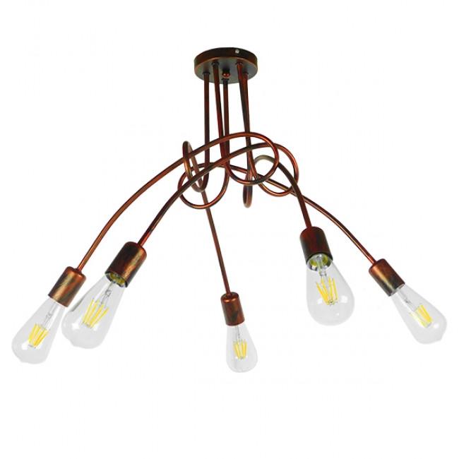 Μοντέρνο Industrial Φωτιστικό Οροφής Πολύφωτο Καφέ Σκουριά Μεταλλικό Φ76  QUARZO 01564 - 2