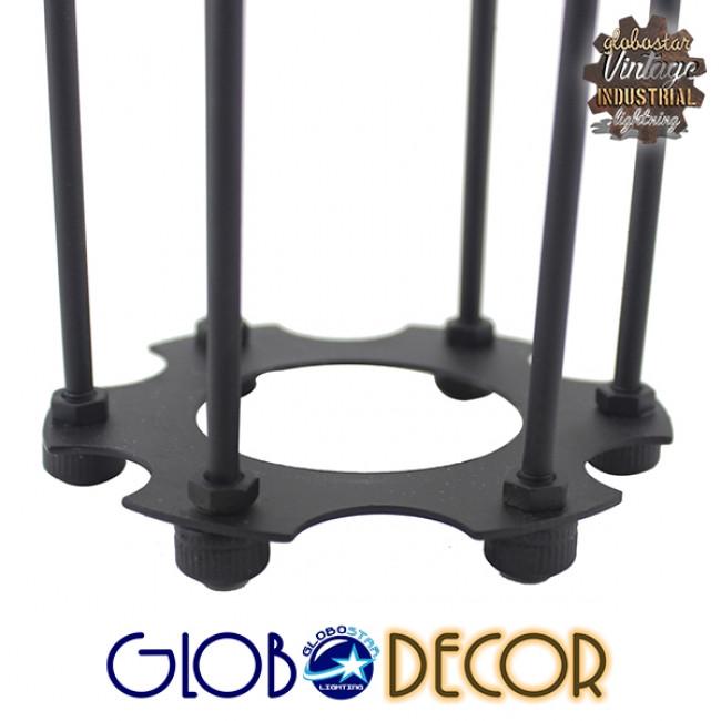 Vintage Industrial Φωτιστικό Τοίχου Απλίκα Μονόφωτο Μαύρο Μεταλλικό Πλέγμα Φ10 GloboStar ANCUS 01055 - 5