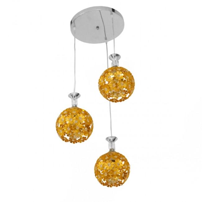 Μοντέρνο Κρεμαστό Φωτιστικό Οροφής Τρίφωτο Χρυσό Μεταλλικό με Κρύσταλλα Φ50 GloboStar MARGARITA 01670 - 2