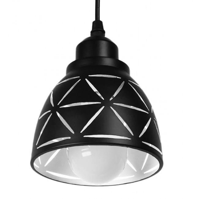Μοντέρνο Κρεμαστό Φωτιστικό Οροφής Μονόφωτο Μεταλλικό Μαύρο Λευκό Καμπάνα Φ13 GloboStar COOLIE 01475 - 5