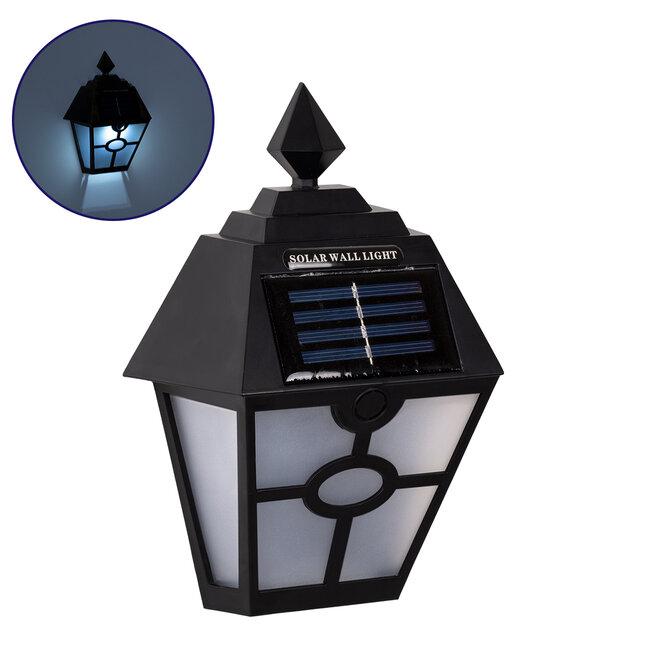 71494 Αυτόνομο Ηλιακό Φωτιστικό Τοίχου Μαύρο LED SMD 1W 100lm με Ενσωματωμένη Μπαταρία 600mAh - Φωτοβολταϊκό Πάνελ με Αισθητήρα Ημέρας-Νύχτας IP65 Ψυχρό Λευκό 6000K - 2
