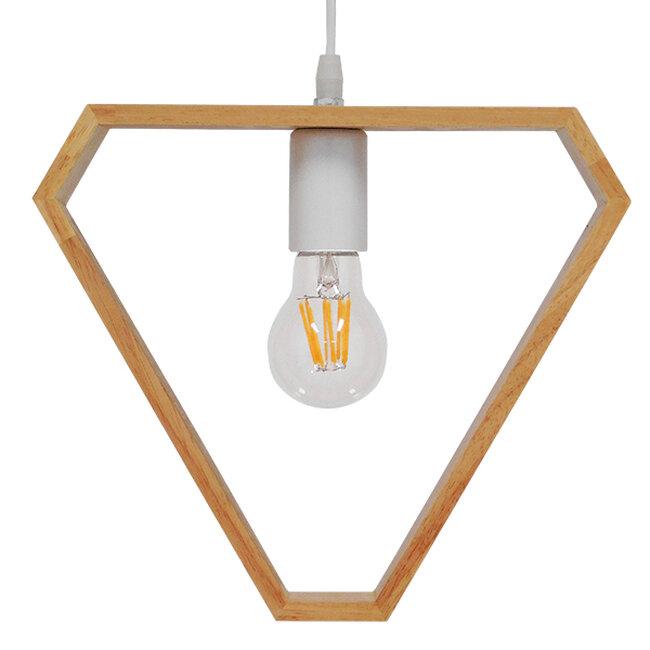 Μοντέρνο Κρεμαστό Φωτιστικό Οροφής Μονόφωτο Μπεζ Ξύλινο Δρυς  ELISE TRIANGLE 01430 - 3