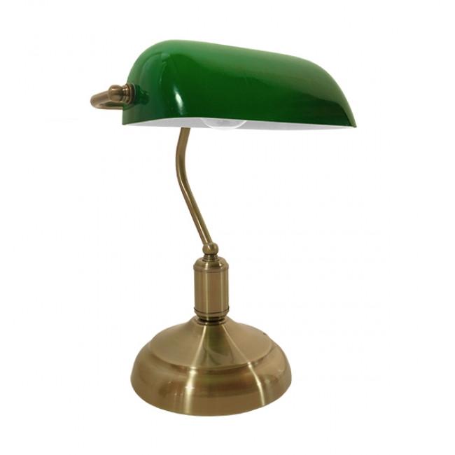 Vintage Επιτραπέζιο Φωτιστικό Πορτατίφ Μονόφωτο Μεταλλικό Χρυσό Μπρούτζινο με Πράσινο Καπέλο GloboStar BANKER GREEN 01391 - 1