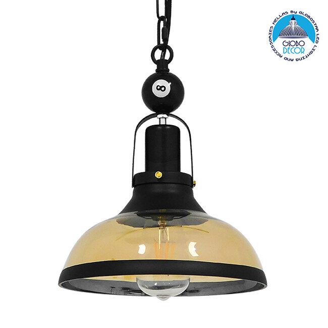 Vintage Industrial Κρεμαστό Φωτιστικό Οροφής Μονόφωτο Mαύρο Μεταλλικό Καμπάνα Φ25  BILLIARD SERIES 00971 - 1