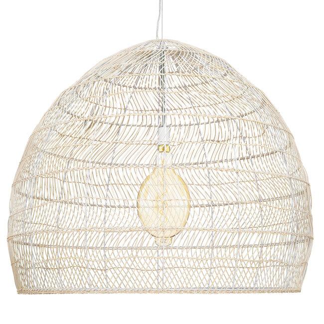 GloboStar® MALIBU 00965 Vintage Κρεμαστό Φωτιστικό Οροφής Μονόφωτο Μπεζ Ξύλινο Bamboo Φ97 x Y86cm - 4