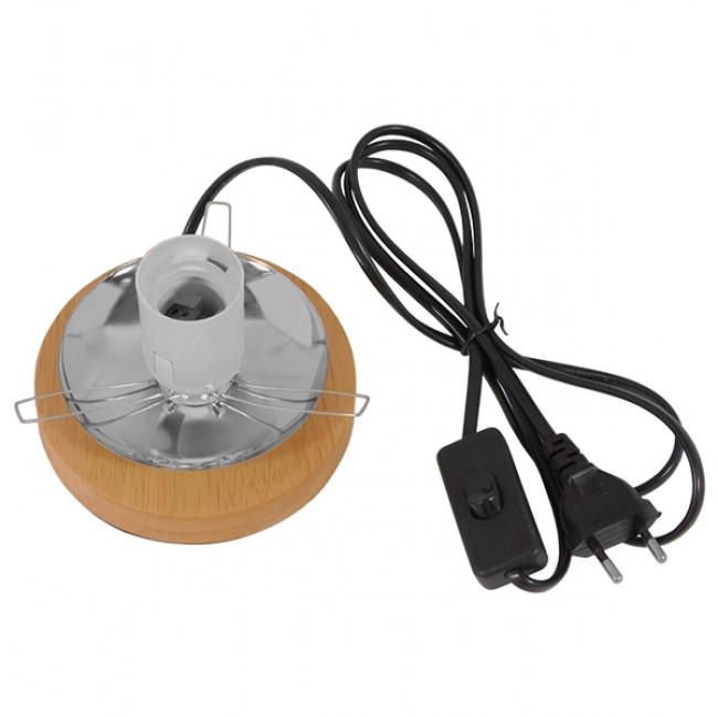 Μοντέρνο Επιτραπέζιο Φωτιστικό Πορτατίφ Μονόφωτο Μαύρο Ξύλινο Ψάθινο Rattan Φ20 GloboStar INDUS 01338 - 6