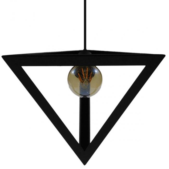 Μοντέρνο Κρεμαστό Φωτιστικό Οροφής Μονόφωτο Μαύρο Μεταλλικό Πλέγμα Φ25 GloboStar TRIANGLE 01063 - 9