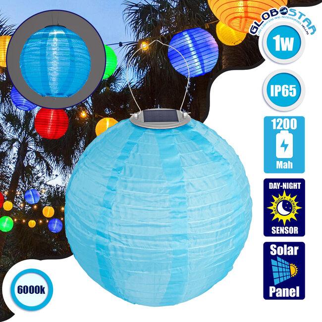 GloboStar® 71594 Αυτόνομο Ηλιακό Φωτιστικό Υφασμάτινη Γαλάζια Μπάλα Φ30cm LED SMD 1W 100lm με Ενσωματωμένη Μπαταρία 1200mAh - Φωτοβολταϊκό Πάνελ με Αισθητήρα Ημέρας-Νύχτας Αδιάβροχο IP65 Ψυχρό Λευκό 6000K - 1
