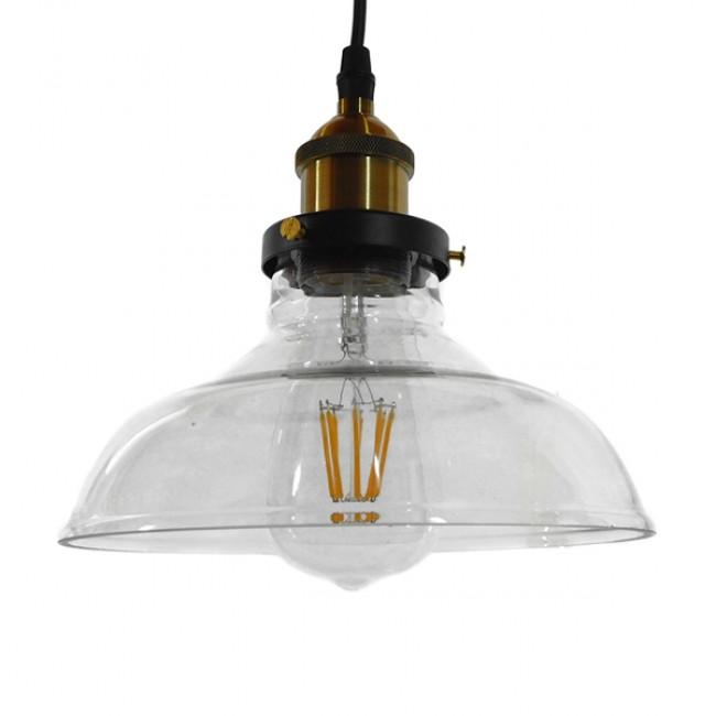 Vintage Κρεμαστό Φωτιστικό Οροφής Μονόφωτο Γυάλινο Καμπάνα Φ20 GloboStar BINGLEY 01075 - 1