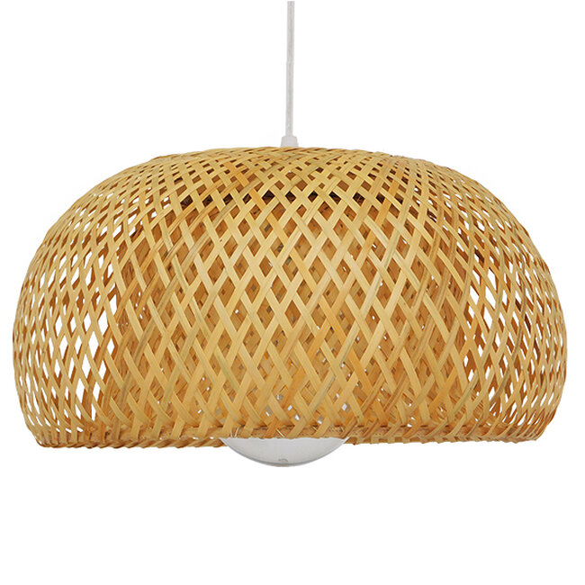 Vintage Κρεμαστό Φωτιστικό Οροφής Μονόφωτο Καφέ Ξύλινο Bamboo Φ38  SAN TROPEZ 01626 - 4