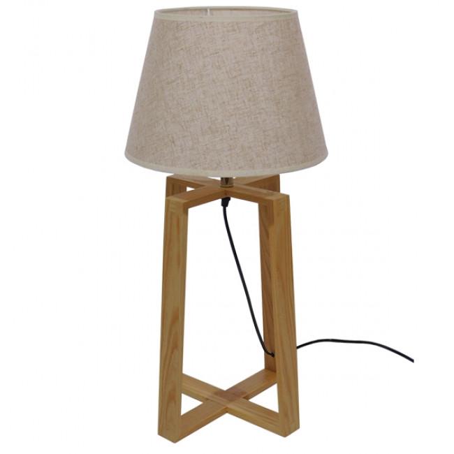 Μοντέρνο Επιτραπέζιο Φωτιστικό Πορτατίφ Μονόφωτο Ξύλινο με Μπεζ Καπέλο Φ30 GloboStar SQUID 01265 - 4