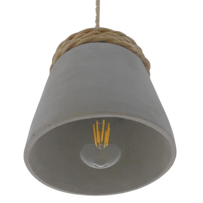 Μοντέρνο Industrial Κρεμαστό Φωτιστικό Οροφής Μονόφωτο Γκρι Τσιμέντο Καμπάνα Φ18  ETESIAN 01319 - 6