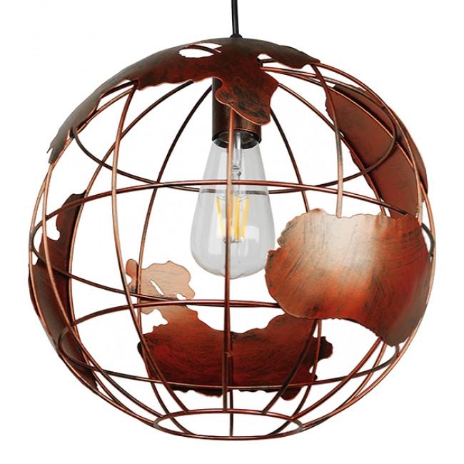 Vintage Industrial Κρεμαστό Φωτιστικό Οροφής Μονόφωτο Καφέ Σκουριά Μεταλλικό Πλέγμα Φ30 GloboStar EARTH RUST 30CM 01662 - 1