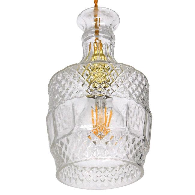 Vintage Κρεμαστό Φωτιστικό Οροφής Μονόφωτο Γυάλινο Διάφανο Φ13  WHISKEY 01513 - 6