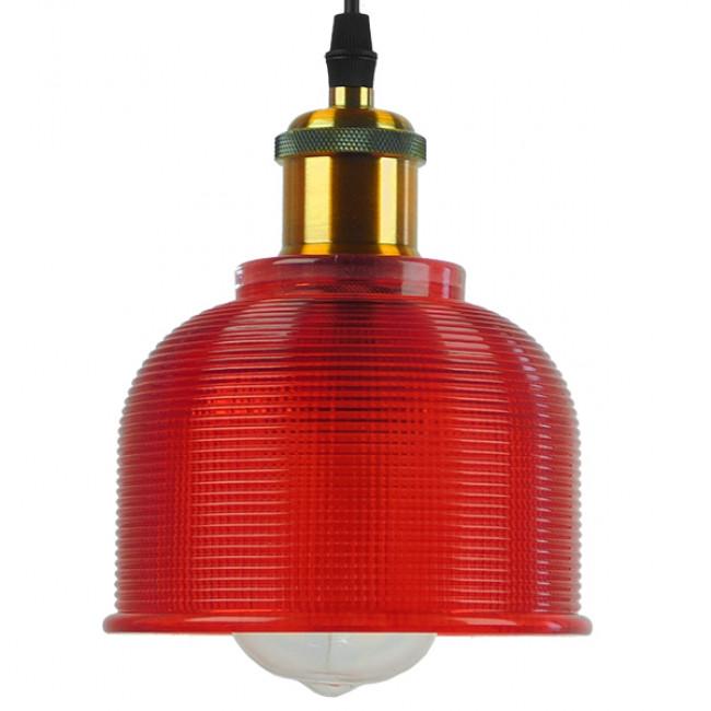 Vintage Κρεμαστό Φωτιστικό Οροφής Μονόφωτο Κόκκινο Γυάλινο Διάφανο Καμπάνα με Χρυσό Ντουί Φ14 GloboStar SEGRETO RED 01450 - 3