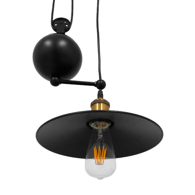 Vintage Industrial Κρεμαστό Φωτιστικό Οροφής Μονόφωτο Μαύρο Μεταλλικό με Ρυθμιζόμενη Ανάρτηση  SCALES 01549 - 7