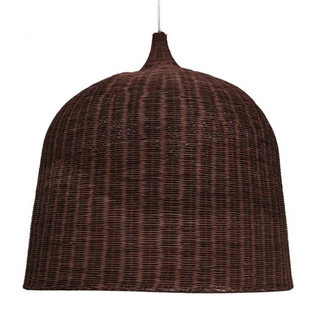 Vintage Κρεμαστό Φωτιστικό Οροφής Μονόφωτο Καφέ Σκούρο Ξύλινο Ψάθινο Rattan Φ90 GloboStar EDEN 01569 - 3