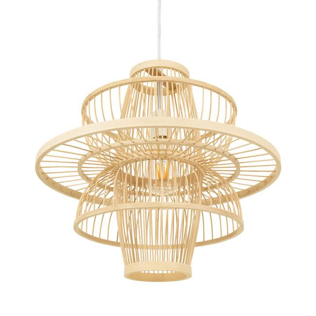 BALI 00861 Vintage Κρεμαστό Φωτιστικό Οροφής Μονόφωτο Μπεζ Ξύλινο Bamboo Φ45 x Y42.5cm - 6