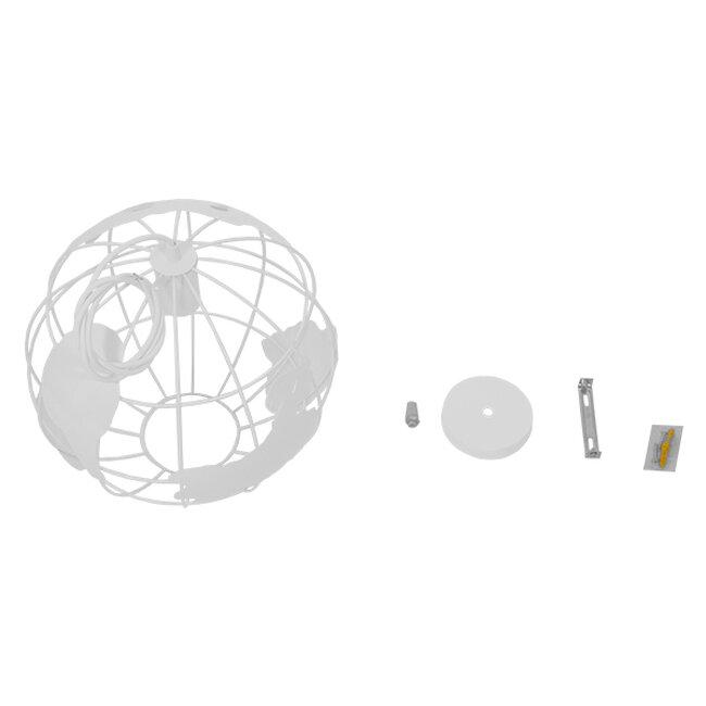 Vintage Industrial Κρεμαστό Φωτιστικό Οροφής Μονόφωτο Λευκό Μεταλλικό Πλέγμα Φ30  LAND 01382 - 8