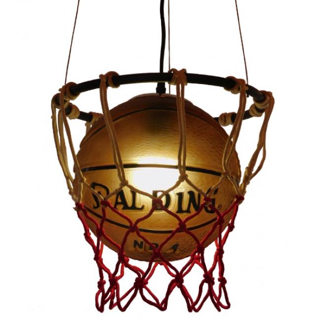 Μοντέρνο Κρεμαστό Φωτιστικό Οροφής Μονόφωτο Πορτοκαλί Μεταλλικό Πλέγμα Φ32 GloboStar NBA  01027 - 4
