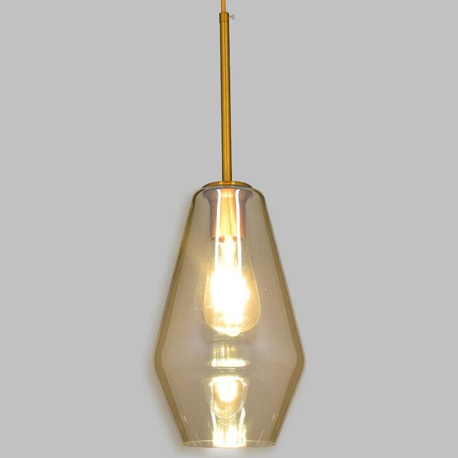 GloboStar® AMARIS 00871 Μοντέρνο Κρεμαστό Φωτιστικό Οροφής Μονόφωτο Γυάλινο Φιμέ Μελί Φ17 x 30CM - 2