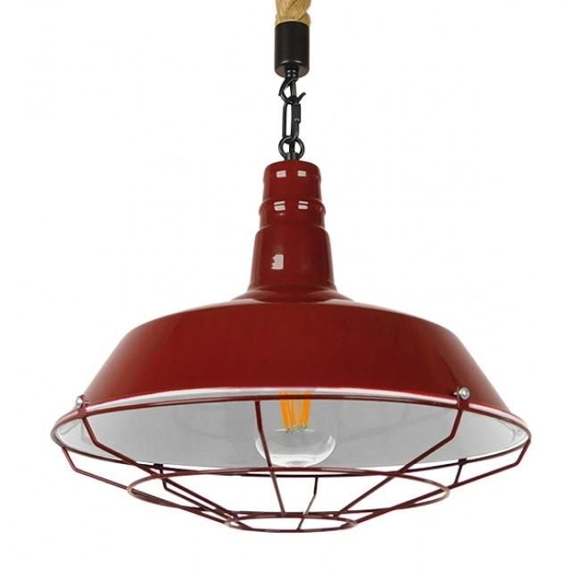 Vintage Industrial Κρεμαστό Φωτιστικό Οροφής Μονόφωτο Μπορντό Κόκκινο Λευκό Μεταλλικό Καμπάνα Πλέγμα με Μπεζ Σχοινί Φ36 GloboStar ISCAR 01410 - 1