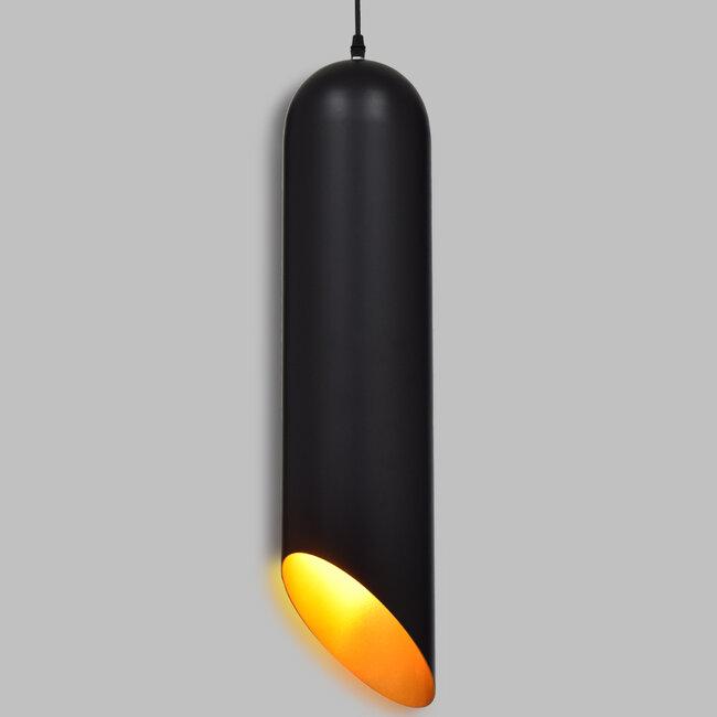 CARSON 01529 Μοντέρνο Κρεμαστό Φωτιστικό Οροφής Μονόφωτο Μαύρο - Χρυσό Μεταλλικό Καμπάνα Φ15 x 68cm - 2