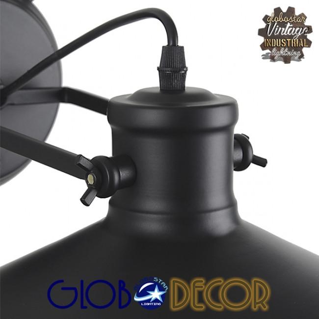 Vintage Industrial Φωτιστικό Τοίχου Απλίκα Μονόφωτο Μαύρο Μεταλλικό Πλέγμα με Καμπάνα Φ27 GloboStar CELL 01118 - 8