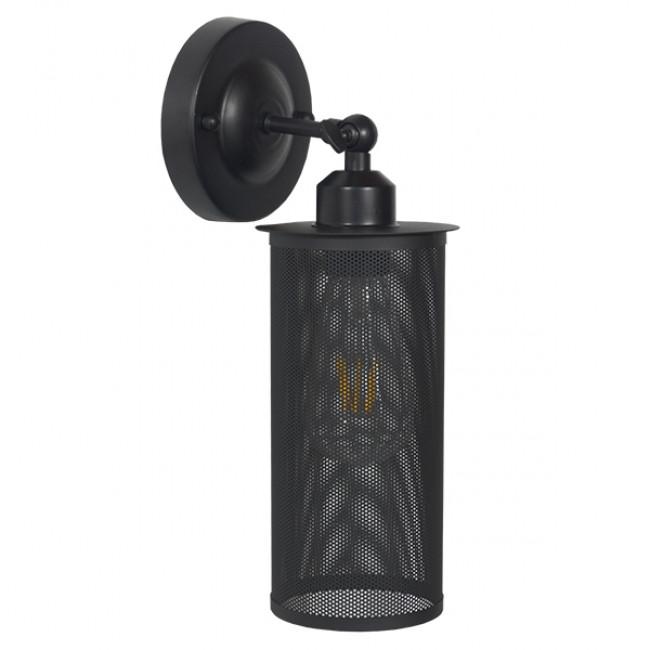 Vintage Industrial Φωτιστικό Τοίχου Απλίκα Μονόφωτο Μαύρο Μεταλλικό Πλέγμα Φ10  HOLVIA 01160 - 2