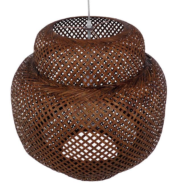 Vintage Κρεμαστό Φωτιστικό Οροφής Μονόφωτο Καφέ Σκούρο Ξύλινο Bamboo Φ56  MALVIDES DARK BROWN 01658 - 7