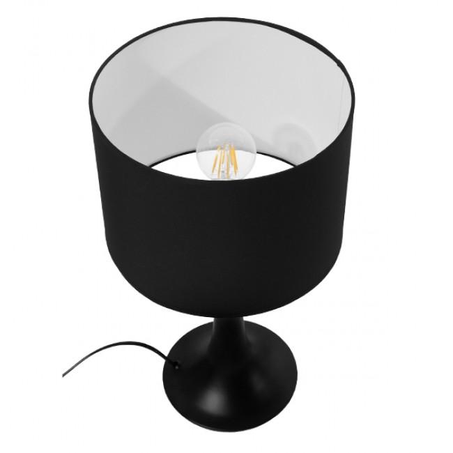 Μοντέρνο Επιτραπέζιο Φωτιστικό Πορτατίφ Μονόφωτο Μεταλλικό με Μαύρο Καπέλο Φ25 GloboStar AMBROSIA BLACK 01394 - 5