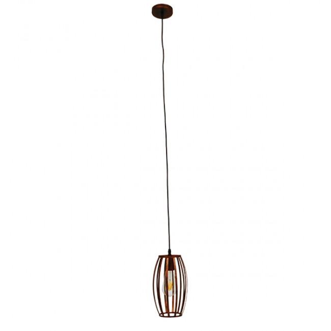 Vintage Industrial Κρεμαστό Φωτιστικό Οροφής Μονόφωτο Καφέ Σκουριά Μεταλλικό Πλέγμα Φ14  ZEBRA IRON RUST 01639 - 2