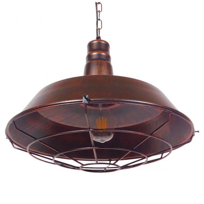 Vintage Industrial Κρεμαστό Φωτιστικό Οροφής Μονόφωτο Καφέ Σκουριά Μεταλλικό Καμπάνα Φ46 GloboStar BARN IRON RUST 01045 - 6