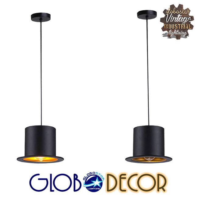 Vintage Κρεμαστό Φωτιστικό Οροφής Μονόφωτο Μαύρο Μεταλλικό Καμπάνα Φ26 GloboStar SHERLOCK 01215 - 13