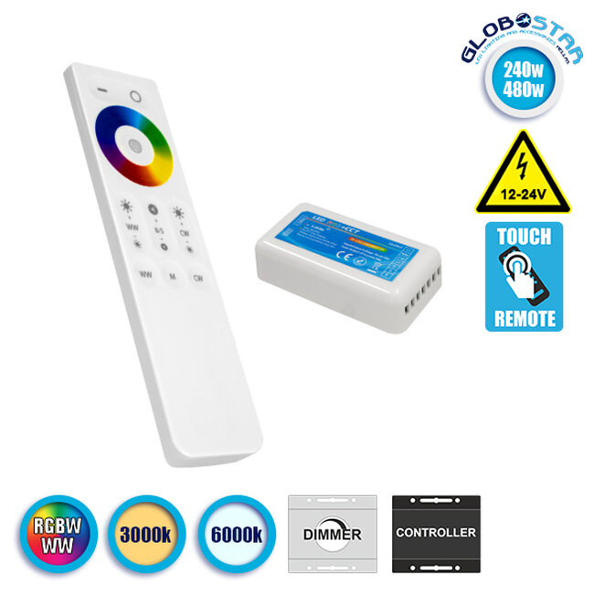 Ασύρματος LED RGBW-WW Controller με Χειριστήριο Αφής 2.4G 12v (240w) - 24v (480w) GloboStar 73424 - 1