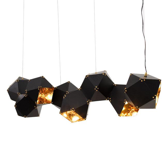 WELLES Replica 00798 Μοντέρνο Κρεμαστό Φωτιστικό Οροφής Πολύφωτο Μεταλλικό Μαύρο Χρυσό Μ130 x Π32 x Υ30cm - 2